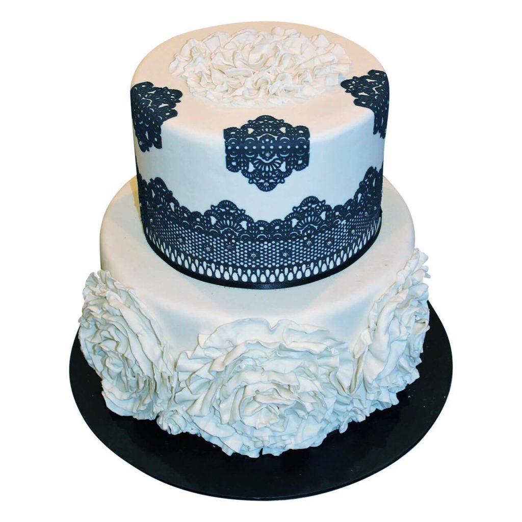 Rosette Black & White Cake