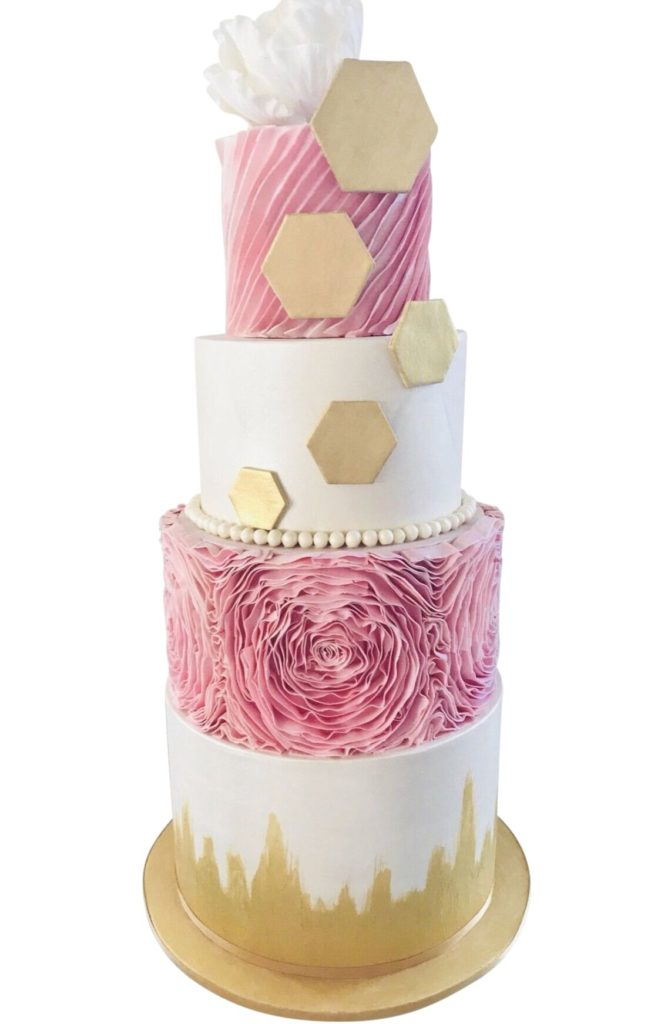 Deluxe, Pink, Gold & white Cake