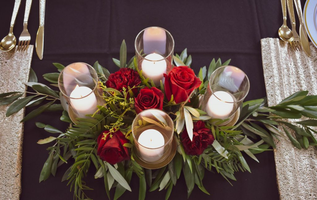 Fresh floral Arrangements with candles