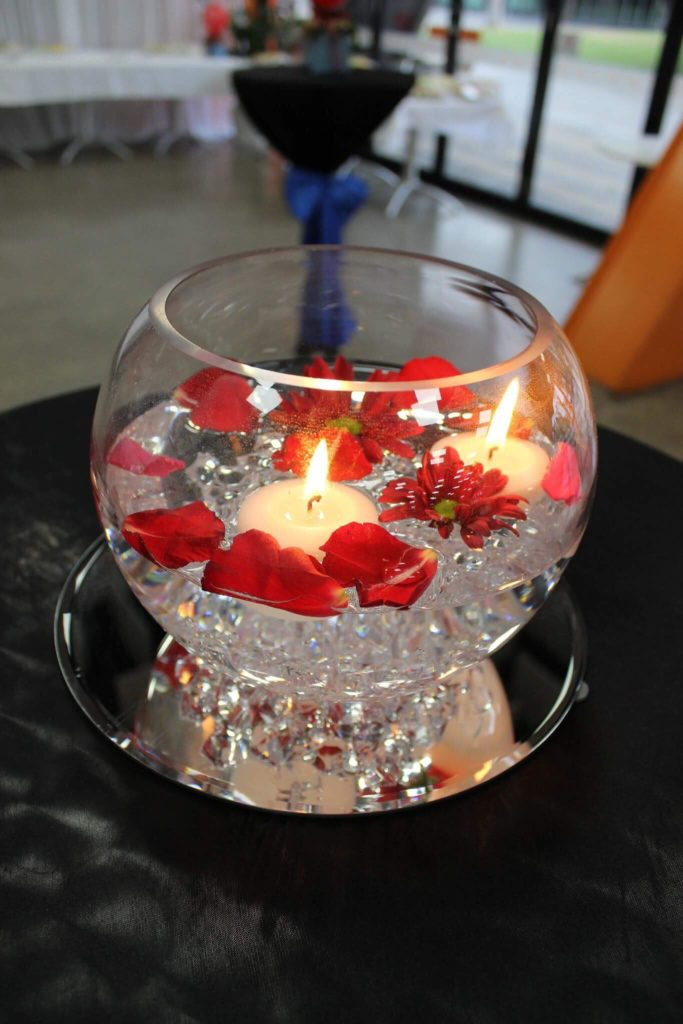 Glistening Bowl with floating candles