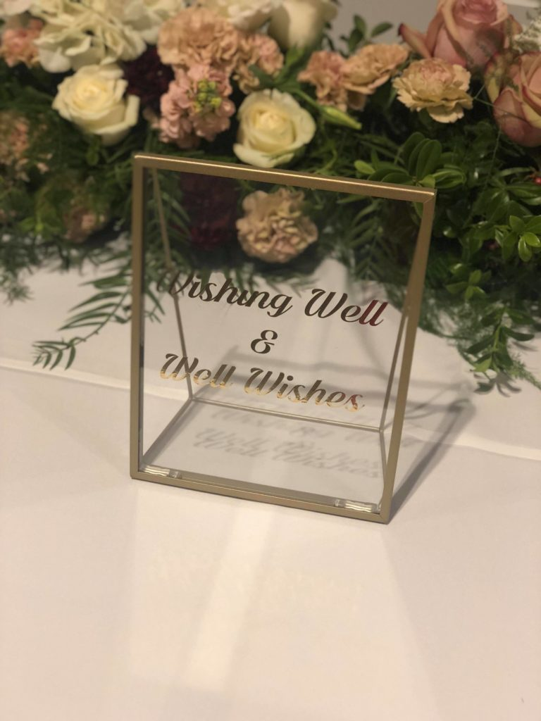 Gold Wishing Well Sign - Available for hire for $15.00