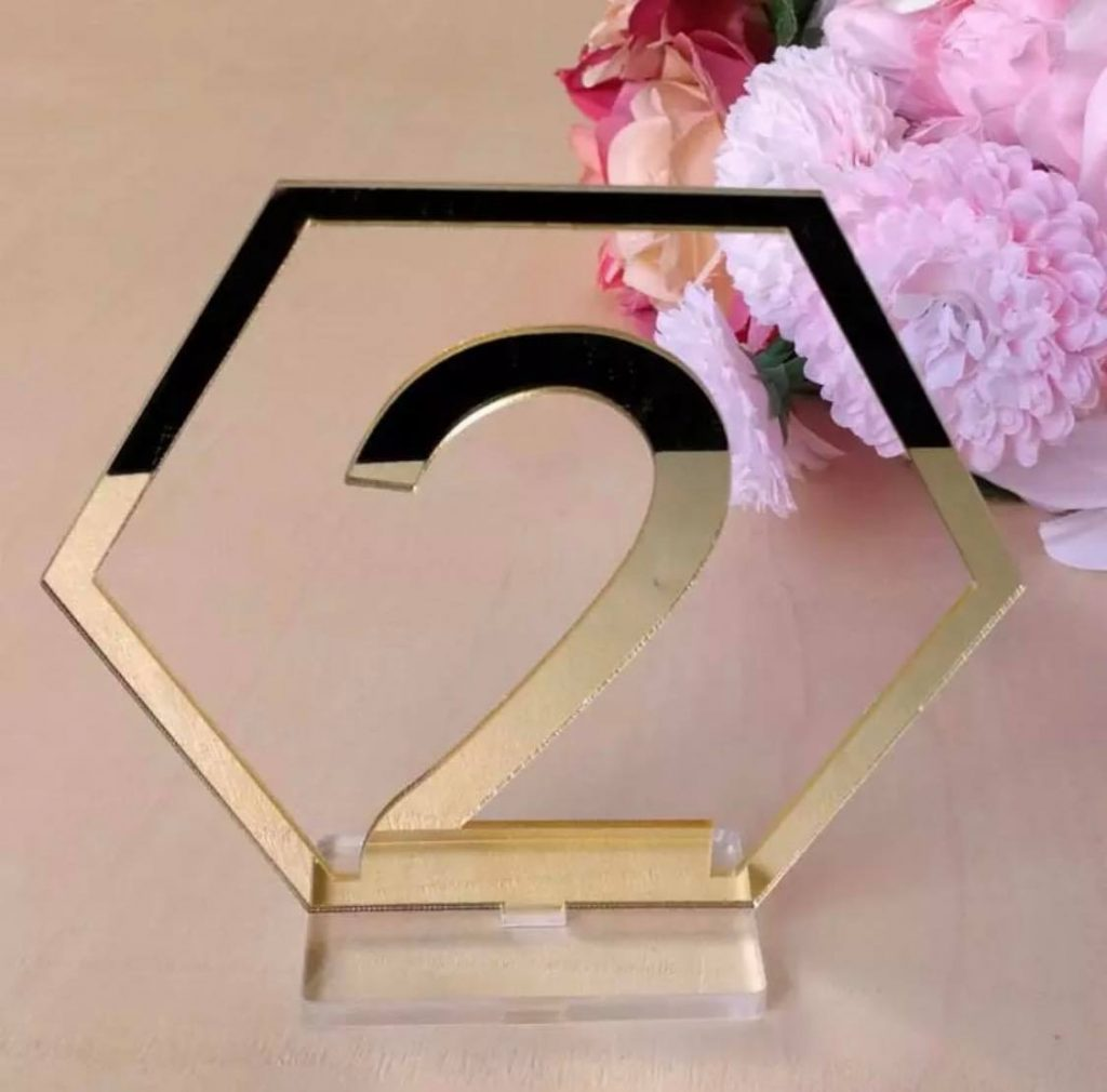 Gold Acrylic Table number