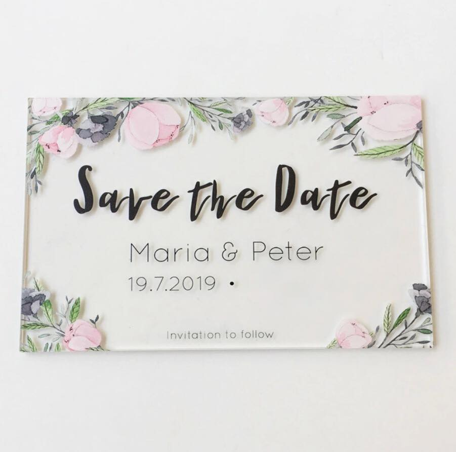 Acrylic Save the Date Cards-  -  Please enquire for pricing