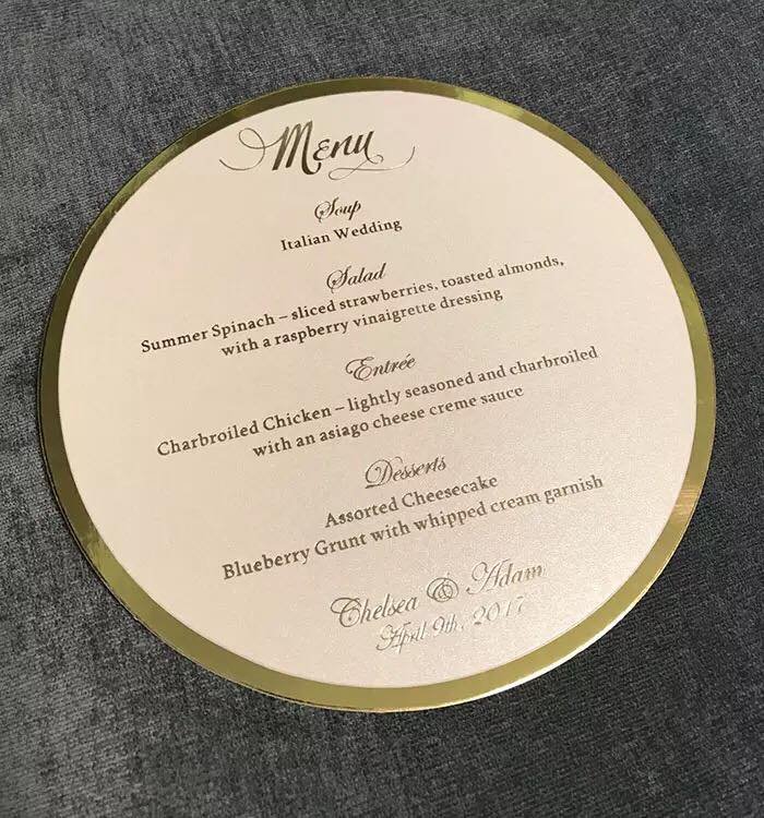 Gold Foiled Round Menus  -  Please enquire for pricing