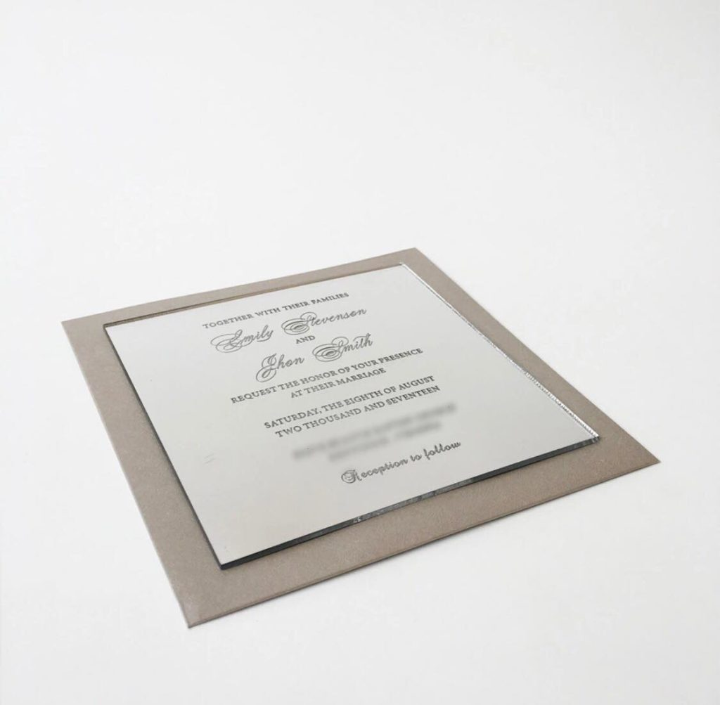 Mirrored Acrylic Invites -  Please enquire for pricing