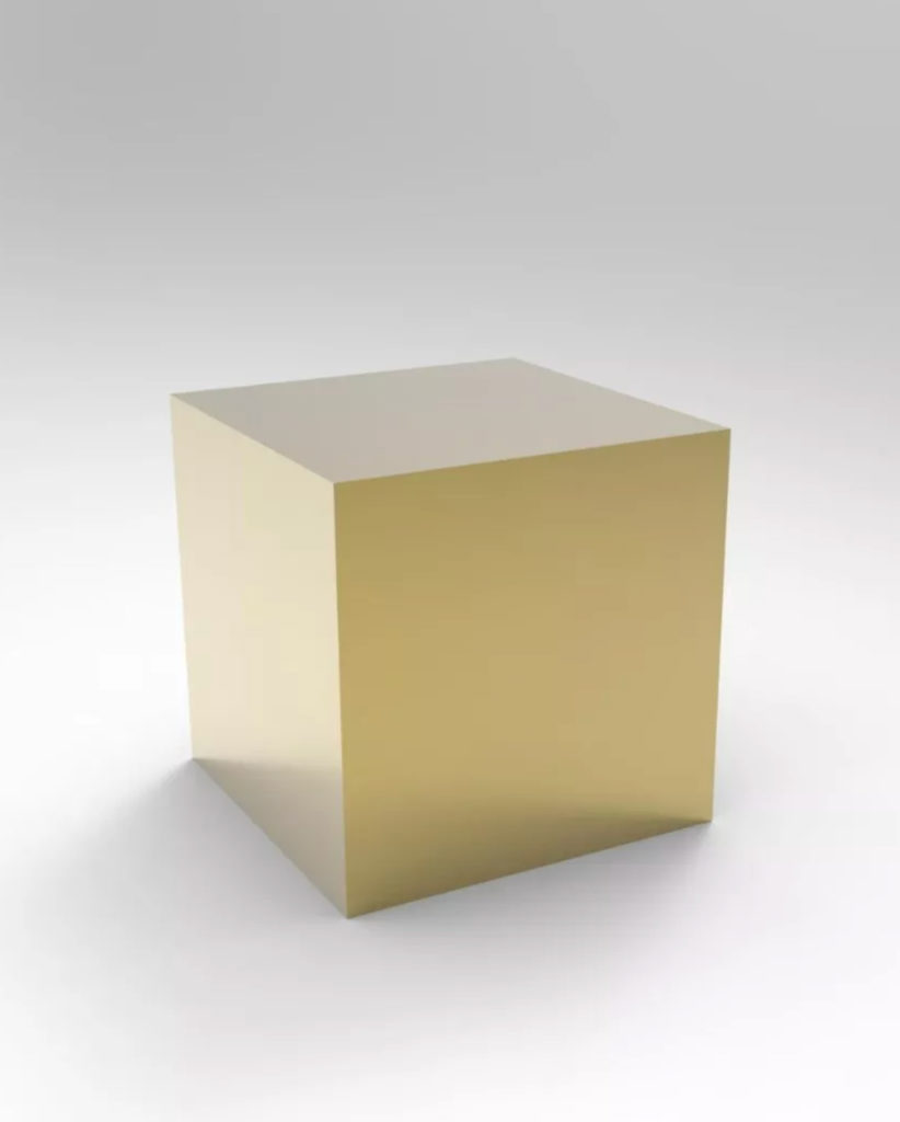 Gold Mirror Display Table -800 mm wide x 800 mm deep x 800 mm High